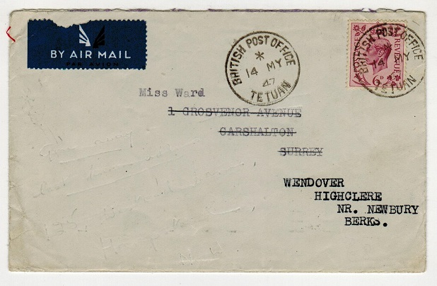 MOROCCO AGENCIES - 1947 cover to UK with 6d (SG Z215) used at TETUAN.