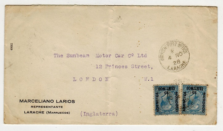 MOROCCO AGENCIES - 1928 25c on 2 1/2d (x2) on cover to UK used at LARACHE.