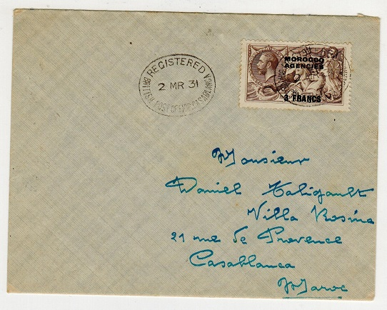 MOROCCO AGENCIES - 1931 (MR.2.) local cover bearing 3f on 2 2/6d