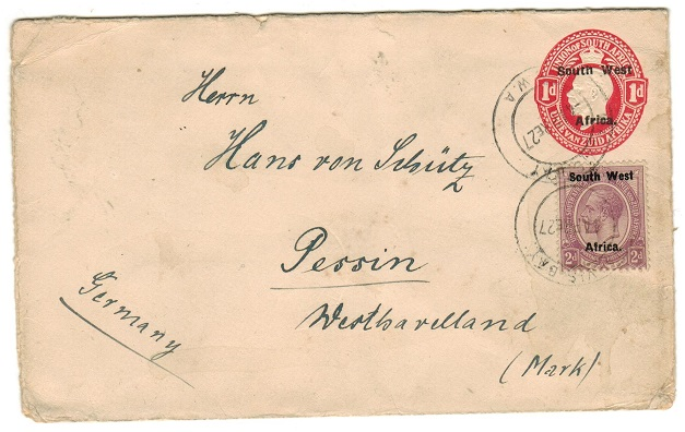 SOUTH WEST AFRICA - 1923 1d red PSE uprated to Germany at WALVIS BAY/SWA.  H&G 3a.