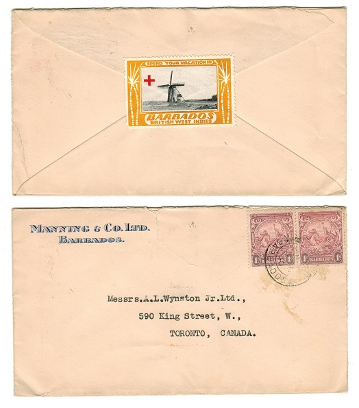 BARBADOS - 1940 cover to Canada with publicity label on reverse.