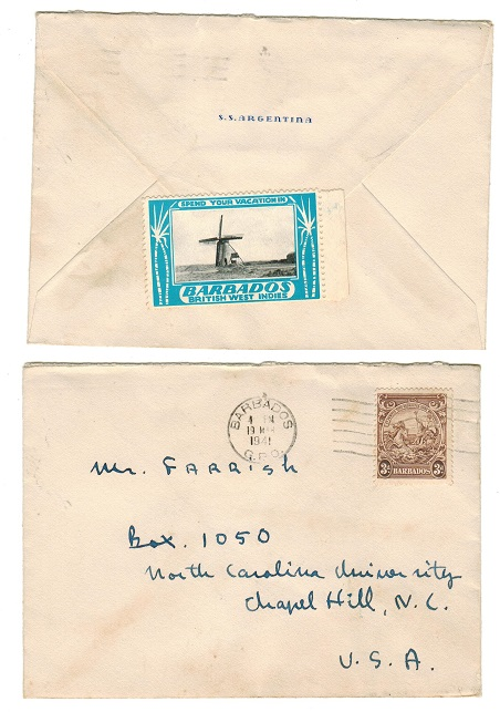 BARBADOS - 1941 cover to USA with publicity label on reverse.