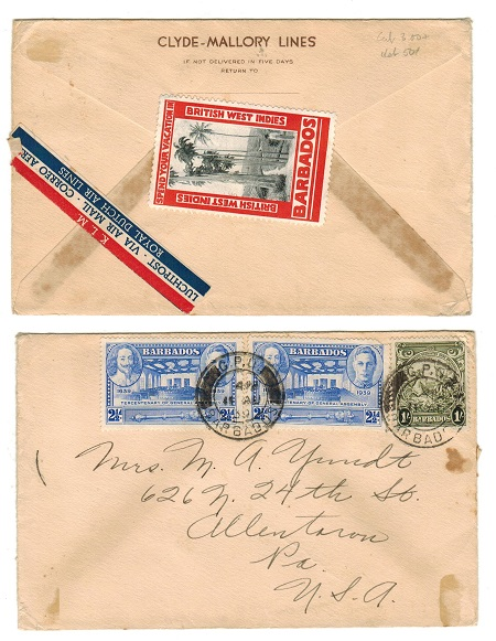 BARBADOS - 1939 cover to USA with publicity label on reverse.