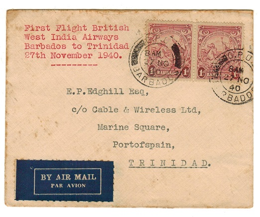 BARBADOS - 1940 first flight cover to Trinidad.