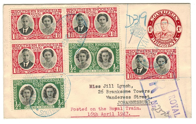 SOUTHERN RHODESIA - 1937 1d red PSE registered to Johannesburg and used on the ROYAL VISIT.  H&G 5.