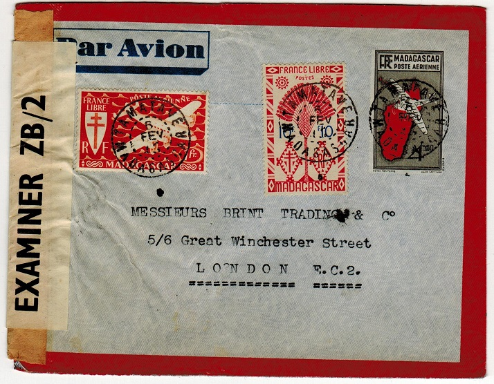 MADAGASCAR - 1943 censor cover to UK with ZB/2 label.