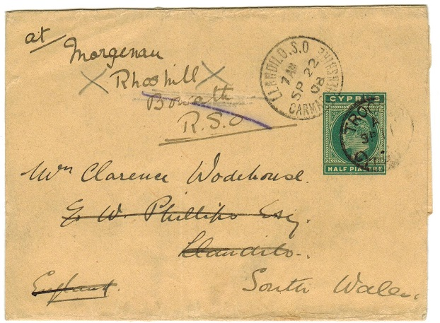 CYPRUS - 1902 1/2p green postal stationery wrapper to UK used at TROODOS.  H&G 6.