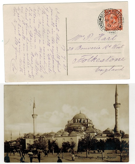 BRITISH LEVANT - 1921 postcard use to UK with 2d un-overprinted adhesive used at CONSTANTINOPLE.