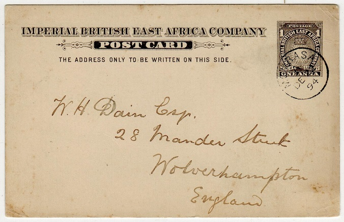 BRITISH EAST AFRICA - 1893 1a PSC written at Rabai and posted at MOMBASA.  H&G 2.