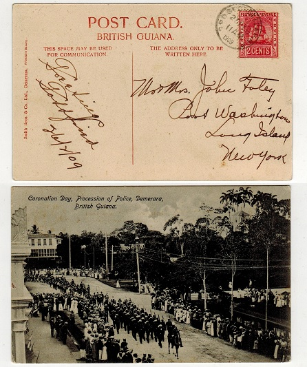 BRITISH GUIANA - 1909 2c rate use of postcard to USA from GEORGETOWN.