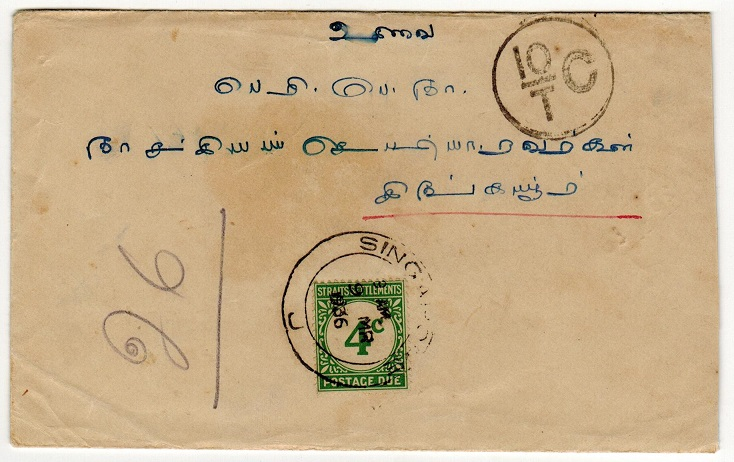 SINGAPORE - 1936 4c postage due cover used at SINGAPORE.