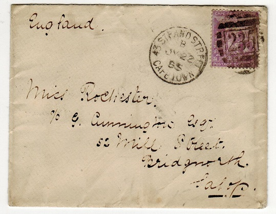 CAPE OF GOOD HOPE - 1885 6d rate cover to UK used at 43 STRAND with