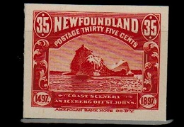 NEWFOUNDLAND - 1897 35c IMPERFORATE PLATE PROOF in red.