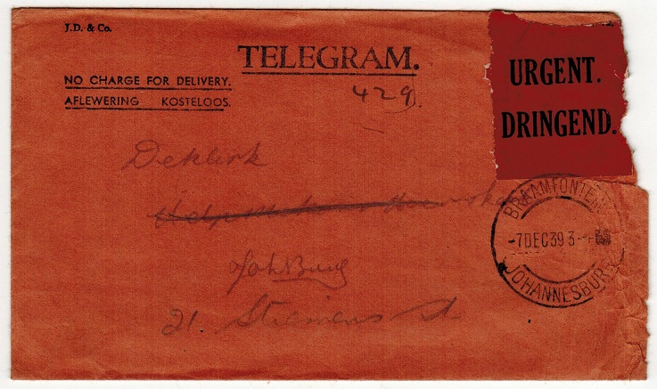 SOUTH AFRICA - 1939 TELEGRAM envelope used locally with red URGENT label applied.