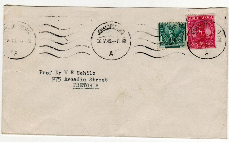SOUTH AFRICA - 1949 cover to Pretoria with 1/2d