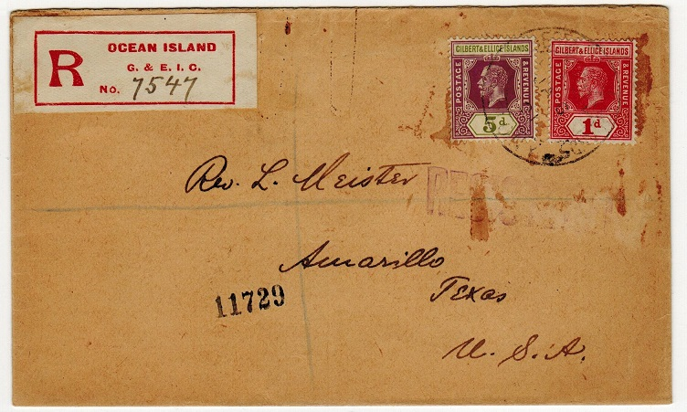 GILBERT AND ELLICE ISLANDS - 1921 registered cover to USA used at OCEAN ISLAND.