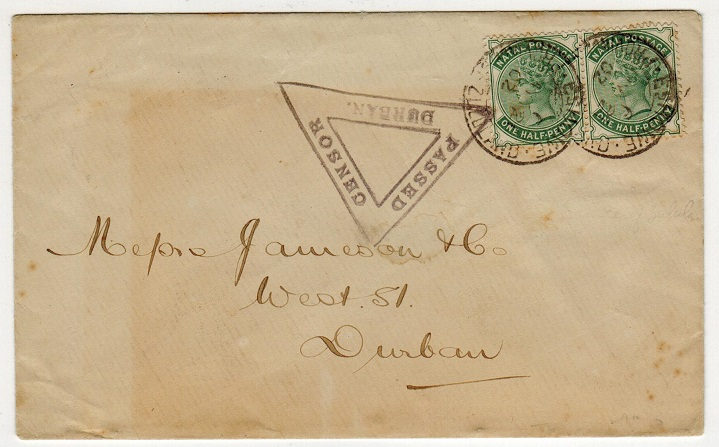 ZULULAND - 1902 cover to Durban used at ESHOWE with PASSED CENSOR DURBAN h/s during Boer War.
