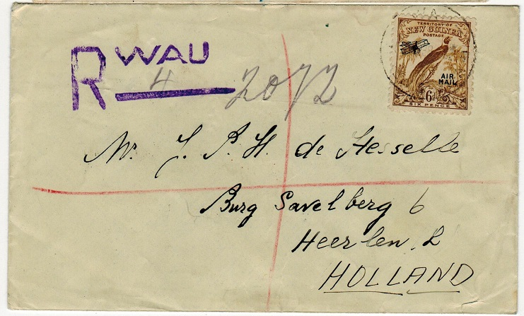 NEW GUINEA - 1938 6d rate registered cover to Holland used at WAU.