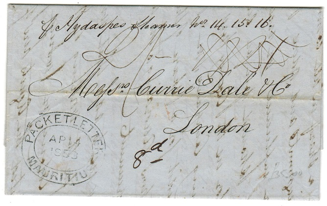 MAURITIUS - 1853 PACKET LETTER/MAURITIUS entire.