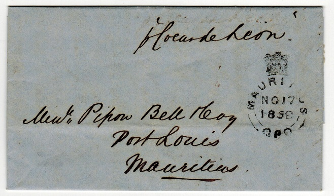 MAURITIUS - 1858 inward CALCUTTA/SHIP LETTER entire from India.