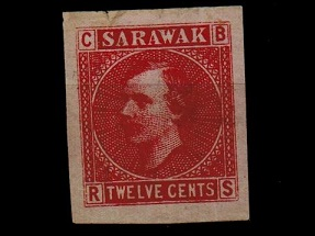 SARAWAK - 1875 12c IMPERFORATE PLATE PROOF in red on pale lilac.