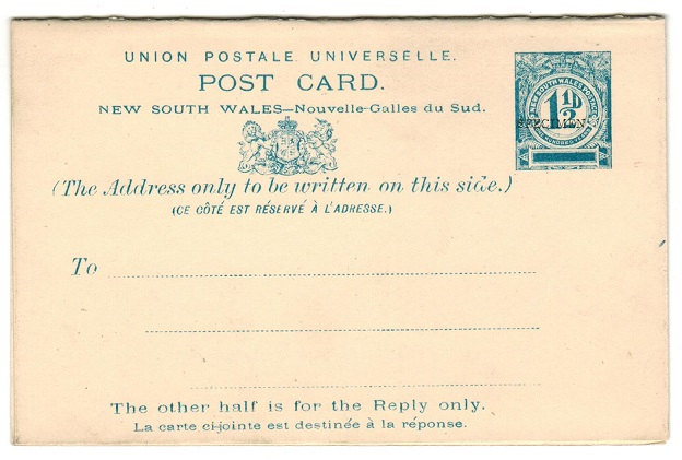 AUSTRALIA (New South Wales) - 1893 1 1/2d+ 1 1/2d PSRC unused SPECIMEN.  H&G 15.