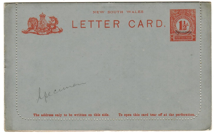 AUSTRALIA (New South Wales) - 1897 1d red postal stationery letter card unused SPECIMEN.  H&G 5.