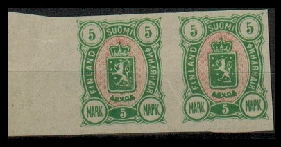 FINLAND - 1885 5p yellow green and pink IMPERFORATE PLATE PROOF pair.