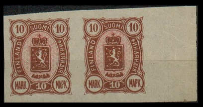FINLAND - 1885 10p rose and pink IMPERFORATE PLATE PROOF pair.
