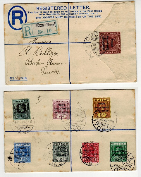 TOGO - 1917 2d+1d RPSE (size G) addressed to Switzerland.  H&G 1a.