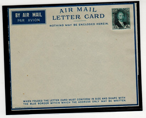 IRAQ - 1933 15fil slate blue LETTER CARD unused. H&G 1.