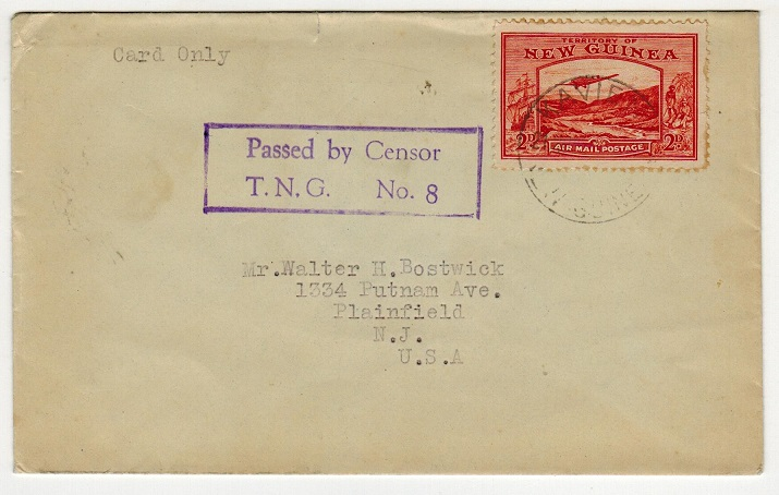 NEW GUINEA - 1942 (circa) PASSED BY CENSOR/T.N.G.No.8 cover to USA from Kavieng.