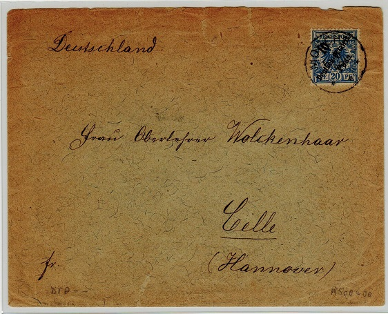 TANGANYIKA (German Offices) - 1899 10p on 25pfg rate cover to Germany from MOSHI.