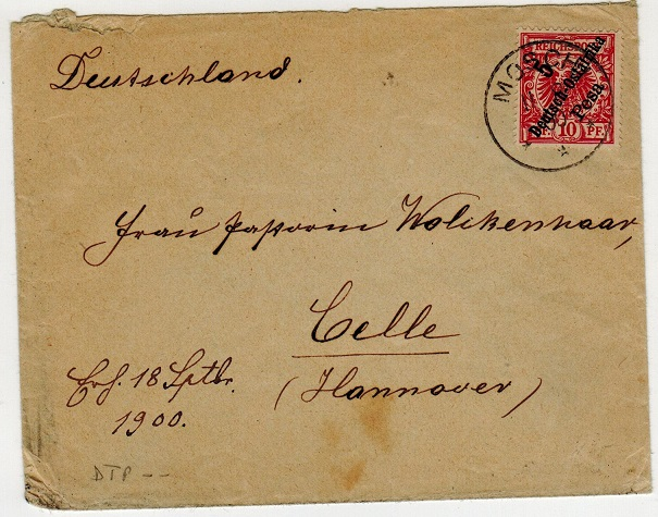 TANGANYIKA (German Offices) - 1900 5p on 10pfg rate cover to Germany from MOSHI.