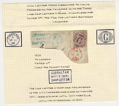 GIBRALTAR - 1858 small piece with GB 6d cancelled by