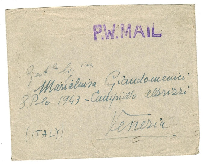 GIBRALTAR - 1946 stampless prisoner of war mail cover to Italy.