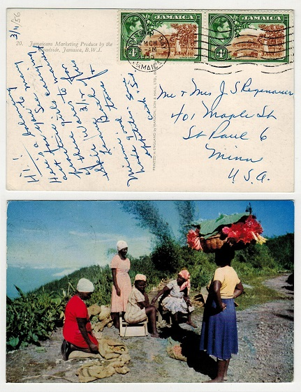 JAMAICA - 1955 8d rate postcard used to USA from MONTEGO BAY.