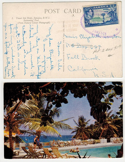 JAMAICA - 1950 (circa) 3d rate postcard to USA used from TOWER ISLE with TRD cancel.