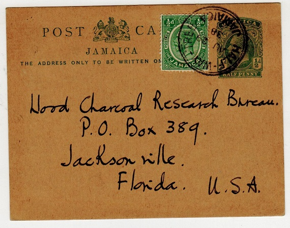 JAMAICA - 1912 1/2d green uprated PSC to USA used at HALF WAY TREE.  H&G 25.