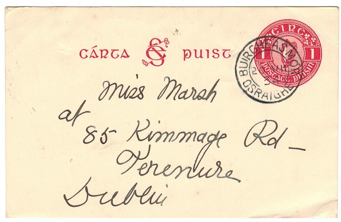 IRELAND - 1931 1d carmine PSC used locally at BUIRGHEAS MOR/OSRAIGHE. H&G 4.