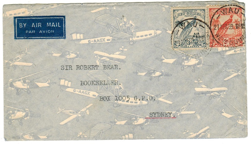 NEW GUINEA - 1939 5d rate cover to Australia used at WAU.