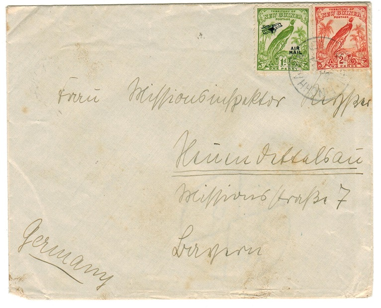NEW GUINEA - 1937 3d rate cover to Germany used at FINCHHAFEN.
