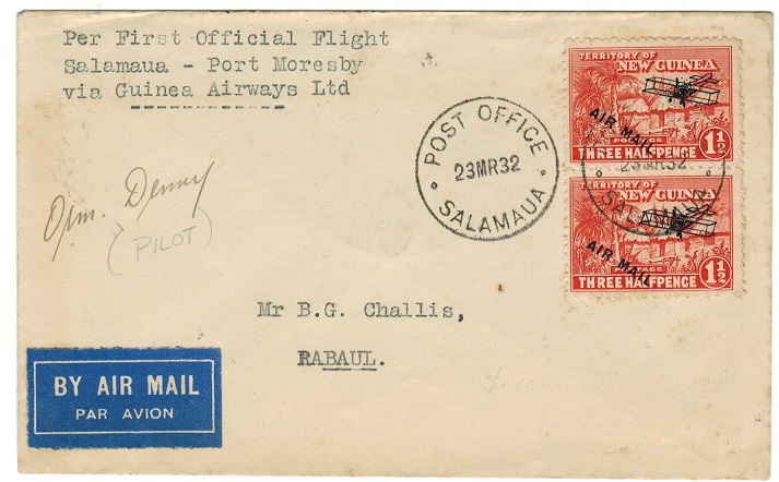 NEW GUINEA - 1932 pilot signed first flight cover to Rabaul from Salamaua.