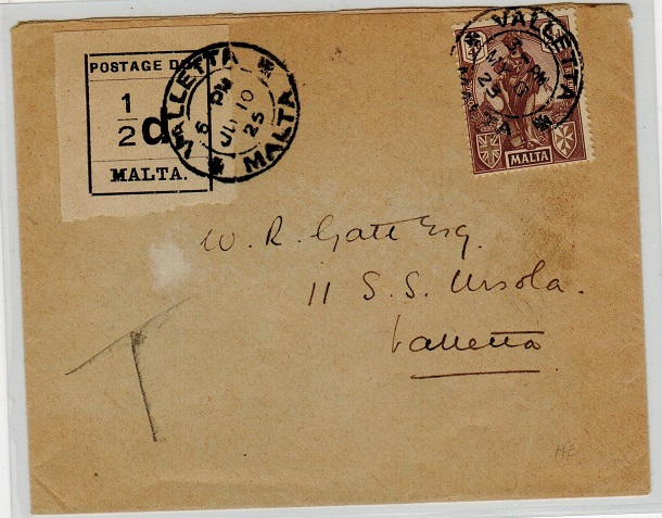MALTA - 1925 underpaid local cover with 1/2d