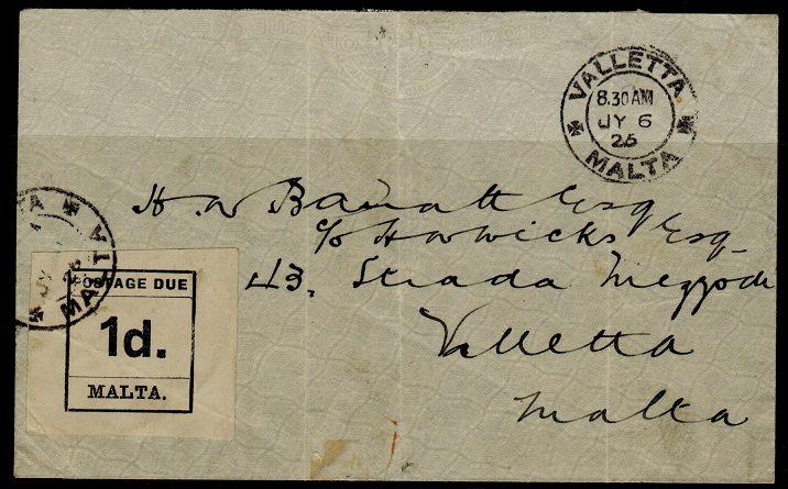 MALTA - 1925 stampless local cover (creases) with 1d