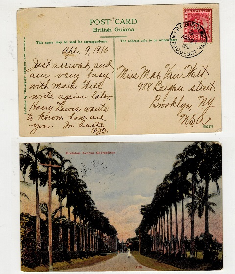 BRITISH GUIANA - 1910 postcard use to USA with 2c tied N.Y.P.O.HUD.TERM.STA/PAQUEBOT.