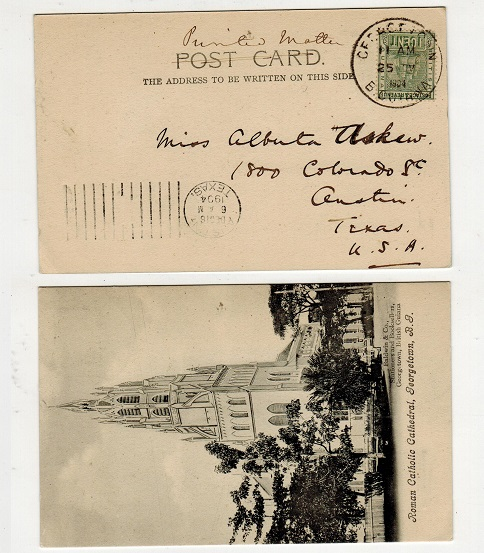 BRITISH GUIANA - 1904 1c rate postcard use to USA used at GEORGETOWN.