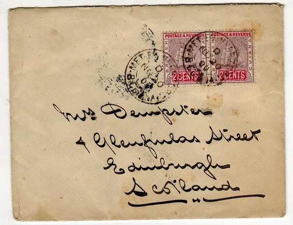 BRITISH GUIANA - 1900 4c rate cover to UK used at METENMEERZORG.
