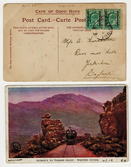 BECHUANALAND - 1907 1d rate postcard use to UK used at MOCHUDI/B.B.