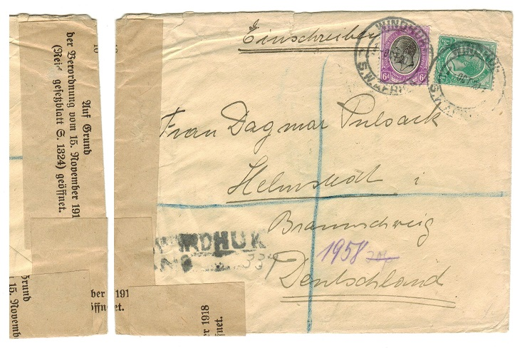 SOUTH WEST AFRICA - 1920 cover to Germany with official regulation label added on arrival.